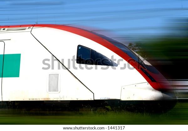 Fast moving train. Motion blur.