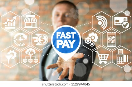 Fast Pay Concept. Online Digital Quickly Payment. Money Speed Financial Business Shopping Technology.