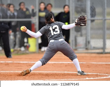 Fast Pitch Softball Pitcher Throwing a Strike