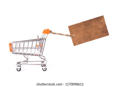 Fast quick hurry super idea limited big final sale end season best hot concept. Side profile photo of paper loft blank brown old pricetag wind up behind pushcart isolated white background copy space