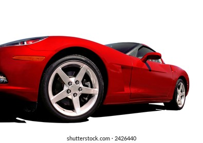 Fast Red Car on White
