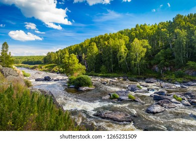 Fast river with rocky banks, overgrown with trees in summer