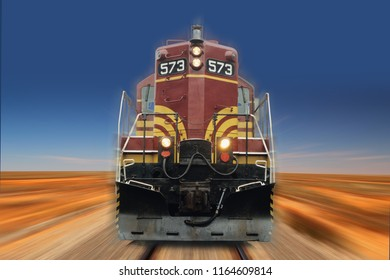 fast running diesel locomotive in the desert