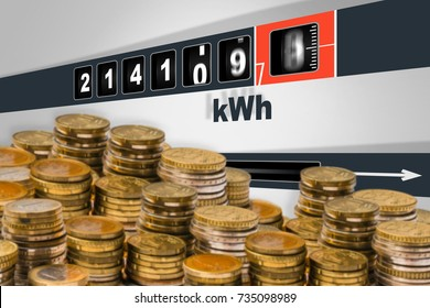Fast running electricity meter - electricity consumption concept