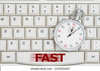 Fast search times on the Internet, A close-up of a keyboard with stopwatch and text Fast