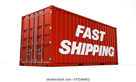 Fast shipping container, 3D illustration