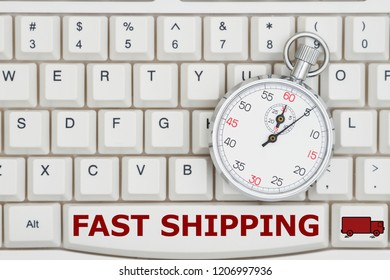Fast shipping time when ordering from the Internet, A close-up of a keyboard with stopwatch and text Fast Shipping and a truck