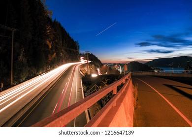 fast speed highway at night