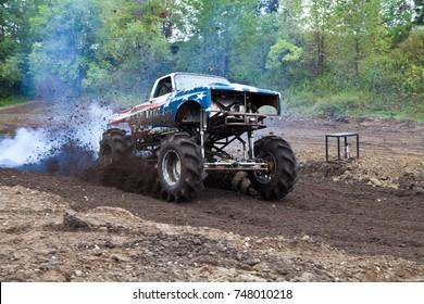 Fast start. Mud racing near Watertown, Minnesota USA 09/16/2017