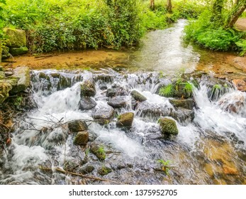 Fast and stones of Armenteira river on the stone and water route in Meis town