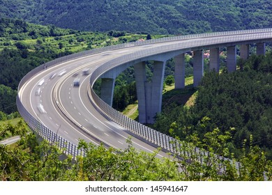 Fast traffic on the bridge of a slovenian highway