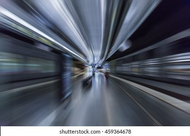 fast train passing by in metro station