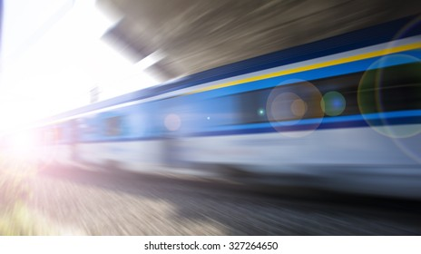 fast train passing by,speed motion blur background