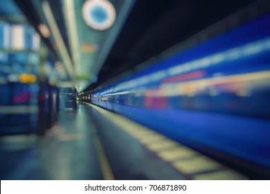 fast train passing subway station
