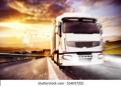 Fast transport truck. Mixed media
