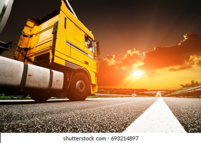 Fast truck on the highway on the asphalt road