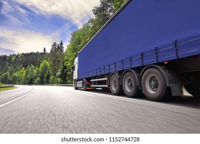 A fast truck running on the highway