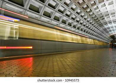 fast underground subway in motion speeding by