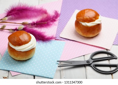 Fastelavnsris and other Fastelavn decorations, scissors and traditional buns