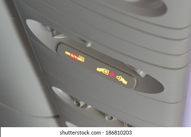 Fasten seat belt and no smoking signs in aircraft