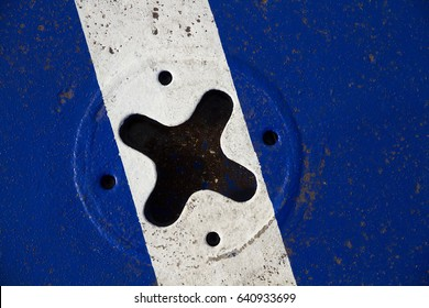 Fasteners 'X' for cars on the ferry deck in bright blue color