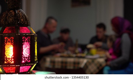Fasting During Ramadan. Local Muslim family celebrates their iftar meal with homemade dishes