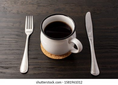 Fasting as main subject. Fasting with coffee. Concept of not eating food and consuming beverage.