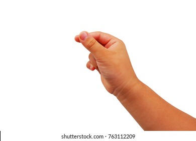 fat asian child girl's hand show gesture reach up for catch something isolated on white background.