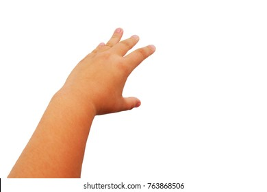 fat asian child girl's hand show gesture reach up for grab something isolated on white background.