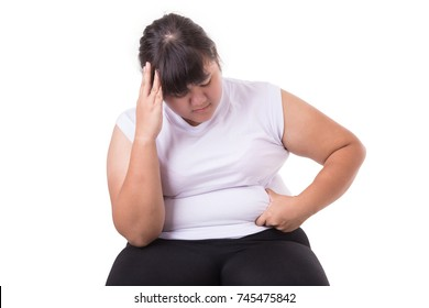 Fat Asian woman wear white t-shirt worried about her body size  isolated on white background