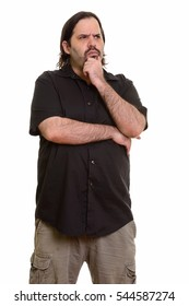 Fat bearded Caucasian man thinking isolated against white background