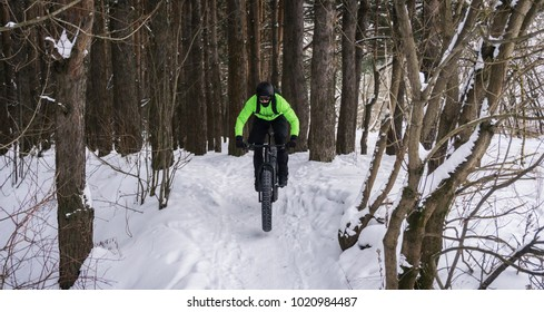 Fat bike also called fat-tire bike - Cycling on large wheels in the winter forest.
