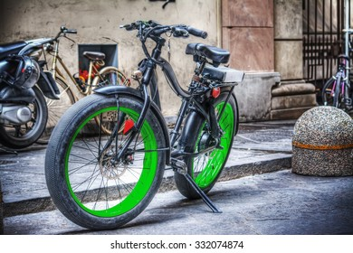fat bike parked in Florence, Italy