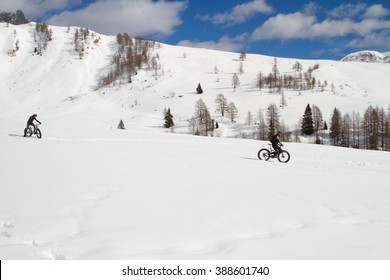 fat bike ride in the snow of the Dolomites
