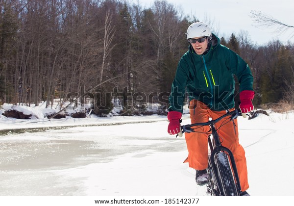 Fat bike rider in winter