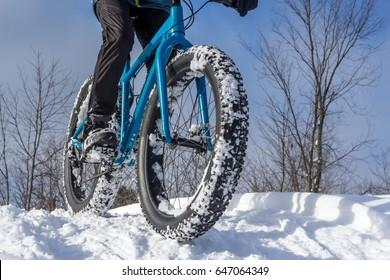 Fat biking on a winter trail