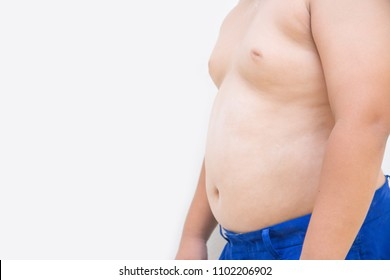 Fat boy overweight on white background