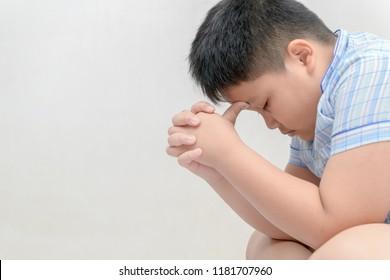 fat boy is stress and headache. distress, negative emotions concept