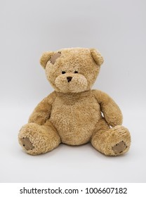 fat brown teddy bear sitting staight