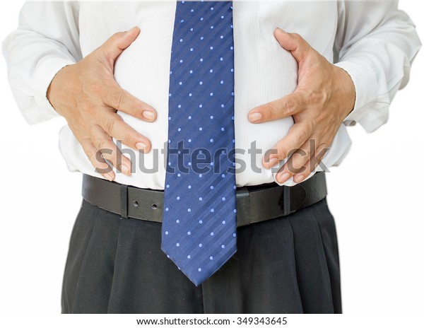 fat business man touching his stomach