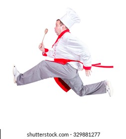 Fat chef running with a wooden spoon on a white background. Fat cook in a hurry on a white background. Obese chef runs isolated on white background. Funny cook with hat.
