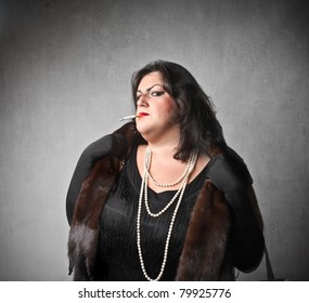 Fat Elegant Woman With Snobbish Expression