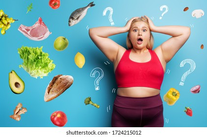 Fat girl in fitness suite wants to start a diet but has doubts about the food to buy. Cyan background