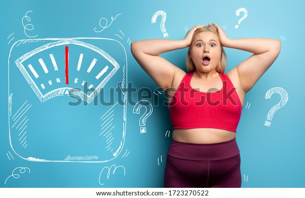 Fat girl is worried because the scale marks a high weight. Cyan background