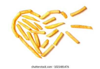 Fat kills. French fries in the form of tbroken heart isolated on white background