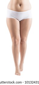Fat legs of young woman. Obesity concept.