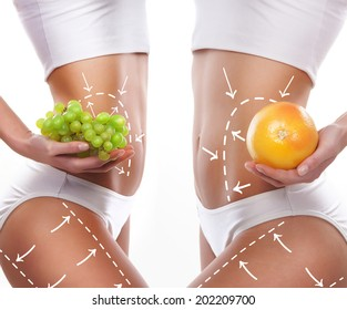 Fat lose, healthy eating, nutrition and cellulite removal concept.