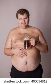 a fat man with a beer mug in hand
