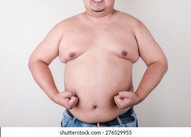 Fat man with a big belly