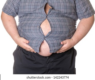 Fat man with a big belly, close-up part of the body